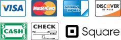 We Accept Visa, Mastercard, Discover, American Express, Cash, Checks, and Square
